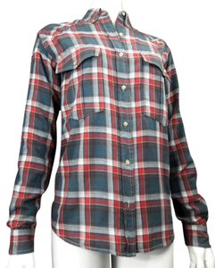 Isabel Marant Button Down Shirt Red, Blue Plaid