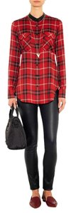 Vince Plaid Tunic Button Down Shirt red