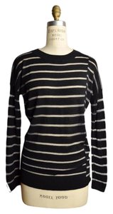 Vince Cashmere Striped Sheer Crewneck Lightweight Sweater