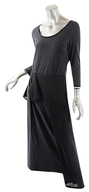 Item - Grey and Black Charcoal Cotton Modal Stretch Waist Ruffle Long Casual Maxi Dress Size 8 (M)