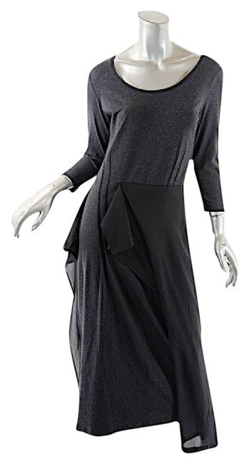 Item - Gray and Black Charcoal Cotton Modal Stretch Waist Ruffle Long Casual Maxi Dress Size 12 (L)