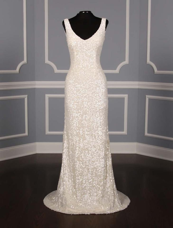 Theia Off White Sequins Harlow 890060 Formal Wedding Dress Size 12 ...