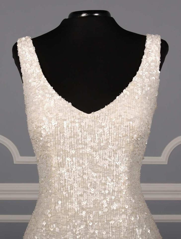 Theia White Sequins Harlow 890060 Formal Wedding Dress Size 12 (L ...