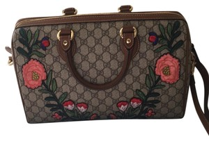 Gucci Satchel in Brown Signature/Floral Embroidered