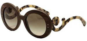 Prada Brand New Prada Wooden Baroque Round Oversized Sunglasses