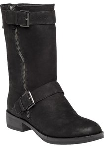 Eileen Fisher Dual Buckle Straps Moto Chic Black Boots