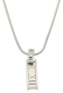 Tiffany & Co. ATLAS Diamond 18k White Gold Roman Numeral Pendant Necklace