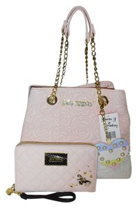 Betsey Johnson Quilted Rose Chain Oversized Wallet Tote in BLUSH