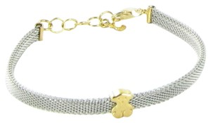 TOUS Gold and Steel Icon 4mm Mesh Bracelet 6.5mm Bear 18K Yellow Gold
