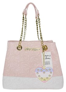 Betsey Johnson Quilted Rose Chain Tote in BLUSH