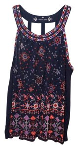 Anthropologie Top navy, red, grey pattern