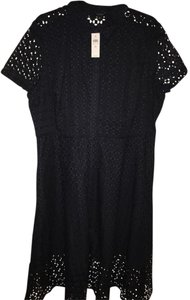 Ann Taylor Eyelet Button Front Shirtwaist Laser Cuts Dress