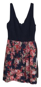City Triangles short dress navy w/ floral on Tradesy