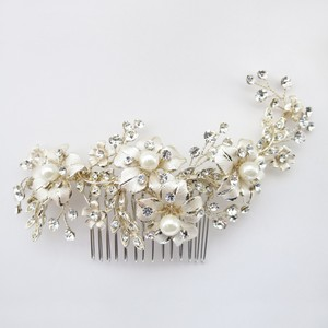 Elegance By Carbonneau Lt Champagne Gold Plated Rhinestone & Ivory Pearl Floral Comb 62