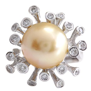 Fashion Strada .80CTW Natural 13.17Mm Gold South Sea Pearl Diamond Ring 14K White Gol