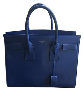 Saint Laurent Grained Leather Small Sac De Jour Satchel in Cobalt