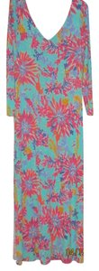 Aqua, Pink, White Maxi Dress by Lilly Pulitzer Maxi Island Floral V-neck