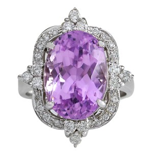 Fashion Strada 11.65CTW Natural Kunzite And Diamond Ring 14K Solid White Gold