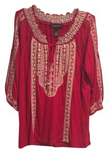 INC International Concepts Top Red with gold embroidery