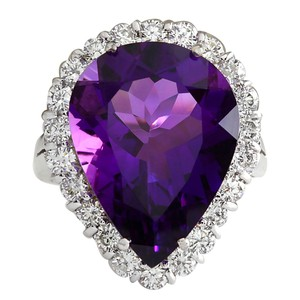 Fashion Strada 10.56CTW Natural Amethyst And Diamond Ring In 14K Solid White Gold
