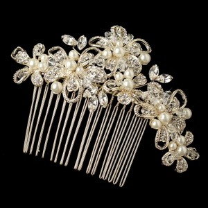 Elegance By Carbonneau Lt Gold Ivory Pearl Crystal & Rhinestone Comb 64