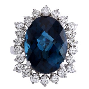 Fashion Strada 12.99Ct Natural London Blue Topaz And Diamond Ring In14K Solid White G