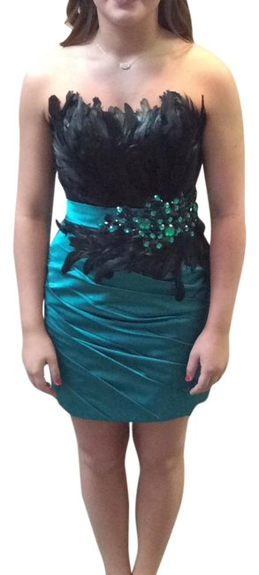 Item - Green and Black Pf5110 Short Cocktail Dress Size 4 (S)