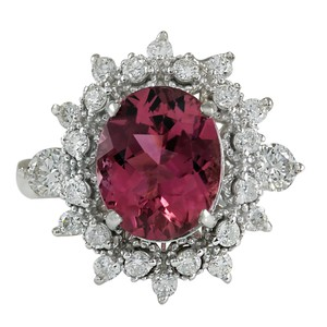 Fashion Strada 5.43CTW Natural Pink Tourmaline And Diamond Ring 14K Solid White Gold