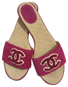 Chanel Suede Slippers Mules Rose Sandals
