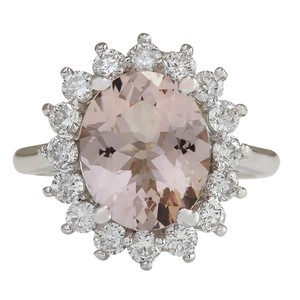 Fashion Strada 4.72CTW Natural Peach Morganite And Diamond Ring In 14K Solid White Go