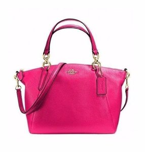 Coach Pebbled Leather Kelsey Ruby Pink Cross Body Bag