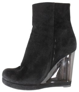 Chloé Suede Lucite Ankle Wedge Black Boots