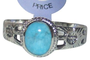 Other Sterling Silver Natural Blue Turquoise Filigree Ring Sizes 5 6 7 8 9