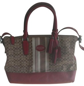 Coach Molly Signature Legacy C Pattern Khaki And Red Satchel Shoulder Bag