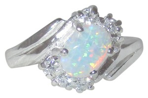 J Brand 925 Sterling Silver WHITE OPAL Clear CZ Accents RING SIZE 7 8 9