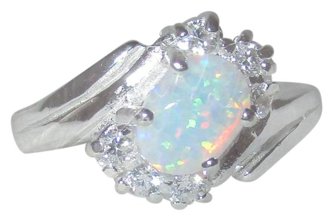 Item - White Opal 925 Sterling Silver Clear Cz Accents Size 7 8 9 Ring