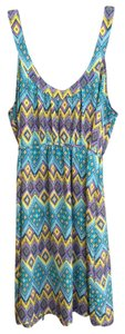 I Love H81 short dress Teal, purple, yellow, navy on Tradesy