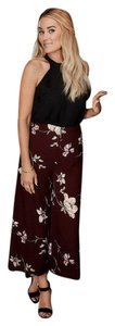 LC Lauren Conrad Cropped Floral Wide Leg Pants Wine