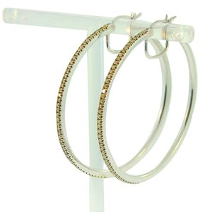 Other Yellow Diamond Hoop Earrings- Sterling Silver