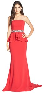 Terani Couture Peplum Embellished Crepe Dress