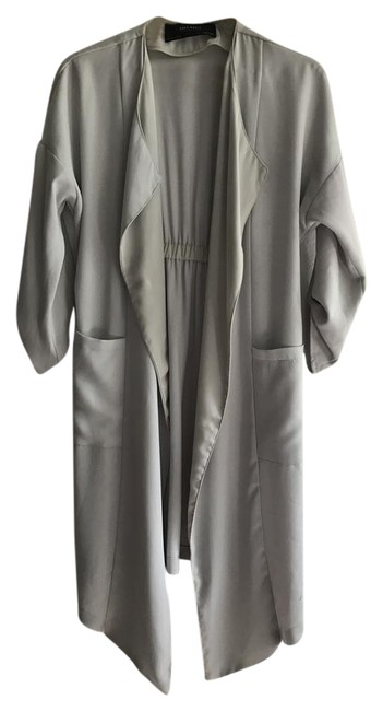 Item - Gray/Mint Green Trench Jacket Size 6 (S)