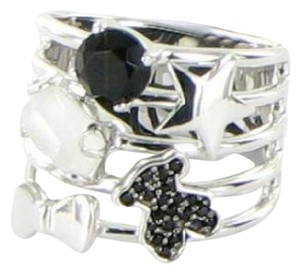 TOUS Silver Join Ring Quartz Onyx Spinels Sterling 925 Sz 7