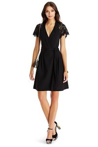 Diane Von Furstenberg Black dress Lace Wrap Vintage Dress