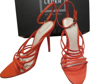 Hervé Leger Orange High Heel Sexy Leather Strappy Coral Red Sandals