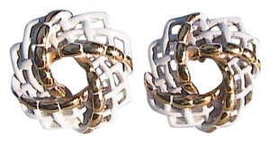 Monet Monet White Basket Weave Clip On Earrings