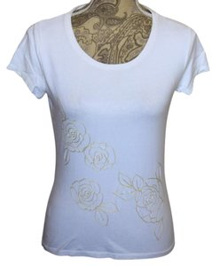 Ann Taylor Embroidered Floral T Shirt WHITE