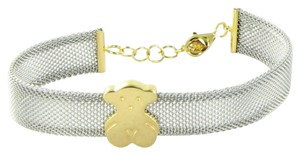 TOUS Gold and Steel Icon Mesh Bracelet 15mm Bear 18K Yellow Gold