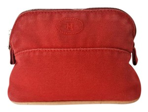 Hermès Hermes Red Canvas MIni Bolide Pouch Case Travel Bag