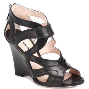 Miu Miu Zipback Strappy Saks Fifth Avenue Black Wedges
