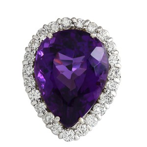 Fashion Strada 14.96CTW Natural Amethyst And Diamond Ring In 14K Solid White Gold